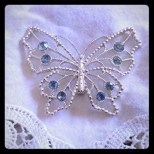Blue rhinestone butterfly brooch